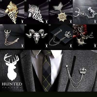 Men Vintage Alloy Stag  Eagle Collar Chain Lapel Stick Pin Tie Hat Brooch Badge