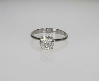 1 Ct Round Cut D Si1 Real Diamond Engagement Ring 14K White Gold 4 Prong