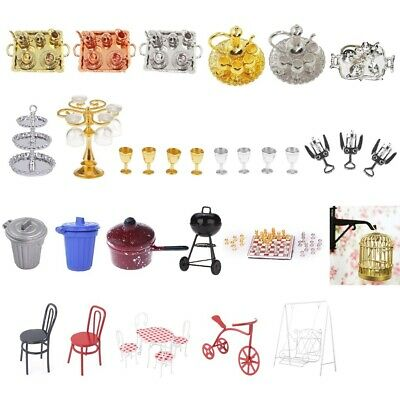 Metal Miniature Furniture Tea Wine Set Goblets Chair Table for 1/12 Dolls House