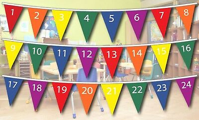 1-24 Numbers Mathematics Polyester Bunting - 10m with 24 Flags