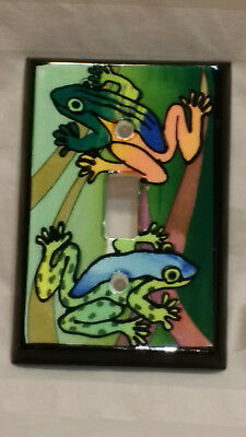 Hand painted Frogs Porcelain Light Switch Cover by: All Fired Up Amphibians Frog