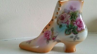 VTG Hand Painted Floral Victorian Shoe by R. S. Prussia Crest Marked-Beautiful!