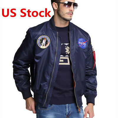 2017 MA-1 NASA letterman varsity american ollege bomber flight jacket for men