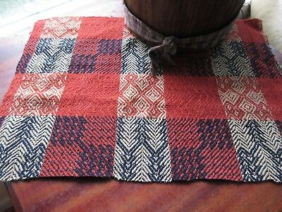Antique Woven Wool Coverlet Piece Country Primitive Table Mat Orange Blue 11x16