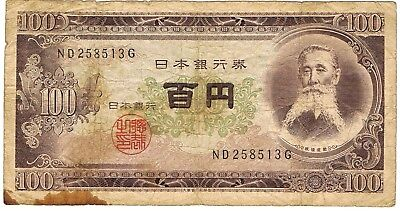 1950-1958 Japan 100 Yen ND Issue Circulated Bank Note Pick-90b!!
