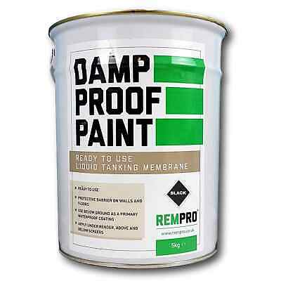 Rempro 5kg Black Damp Proof Membrane Paint - DPM Water Proofing Walls & Floors