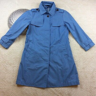 Gap Womens Trench Coat No Belt Casual Jacket Blue Size Small