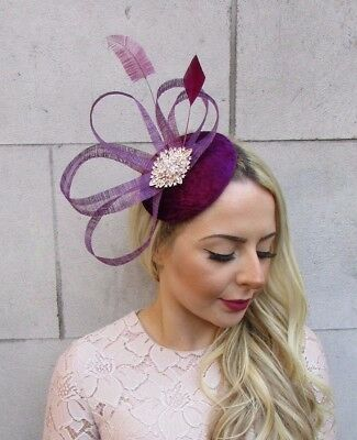 Plum Purple Velvet Feather Pillbox Hat Fascinator Formal Races Hair Clip 4455