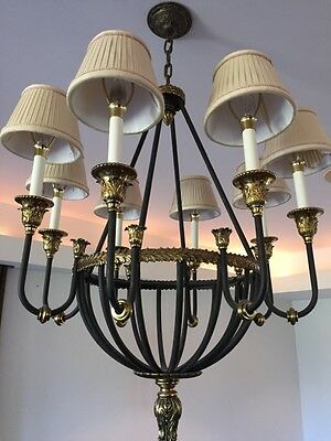 Stately Vintage French Empire Bronze Wrought Iron Directoire Chandelier 30""