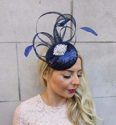 Navy Blue Silver Feather Pillbox Hat Fascinator Races Hair Clip Formal 4461 e09484cc8cc