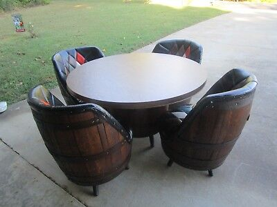 Mid Century Brothers Whiskey Barrel Dinette Set Consisting Of 4 Chairs & Table