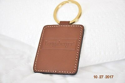 Longaberger Country Estates Leather Key Chain Fob w Box and P Card RARE *NEW*