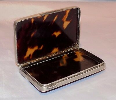 """Antique 19thC Continental Hallmarked 900 Silver & """"faux"""" Tortoiseshell Card Case"""