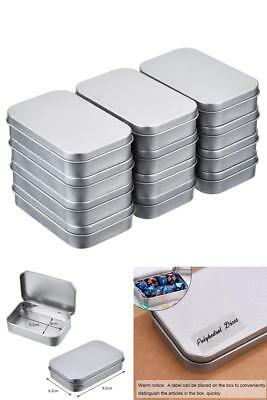 Lot of 12 Silver Metal Rectangular Empty Hinged Tins Box Mini Containers & Lids