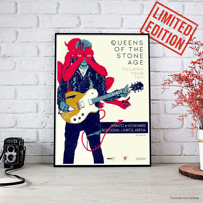 Queens of the Stone Age Villains Tour 2017 Art Poster 4 novembre Bologna QOTSA