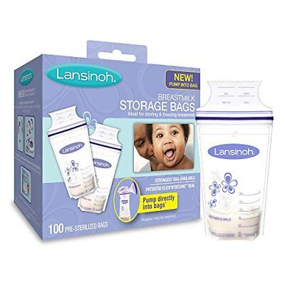 2 Pack Lansinoh Breastmilk Storage Bags BPA Free and BPS Free 100 Count Each