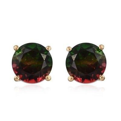 4.75ct Watermelon Tourmaline Quartz Earrings in Gold Overlay 925 Sterling Silver