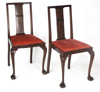 Pair of Antique Mahogany Dining Chairs with Ball & Claw Feet [PL4043A]