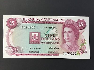 Bermuda 5 Dollars P24 dated 6th February 1970 A/2 195250 aUNC to UNC