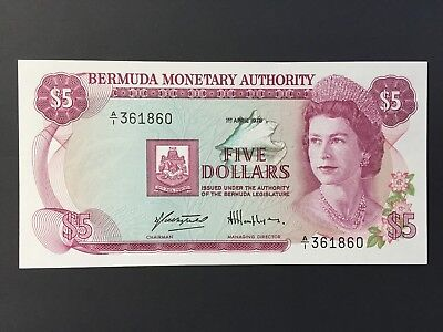Bermuda 5 Dollars P29a dated 1st April 1978 A/1 361860 Uncirculated UNC