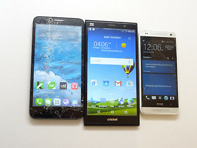 Lot of 3 Smartphones 1 HTC & 1 ZTE & 1 Alcatel 2 Cricket & 1 AT&T AS-IS GSM