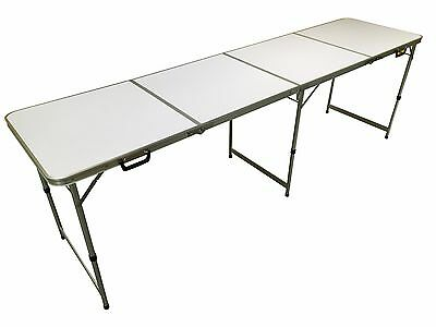 Official Size 8' Foot Folding Pong 4 Section Table Party Games- Plain White