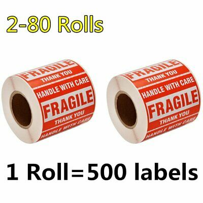 2-80 Rolls 2 x 3 Fragile Sticker Handle with Care Thank You Labels Free Shipping
