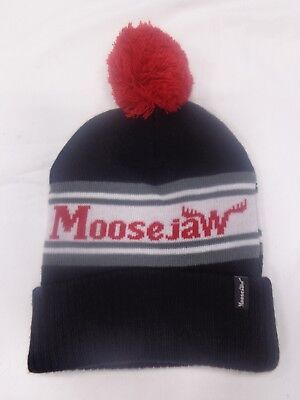9ef3cf8b7 Moose Jaw Black Cuff Red Pom Beanie Stocking Cap Hat Name Middle White Gray