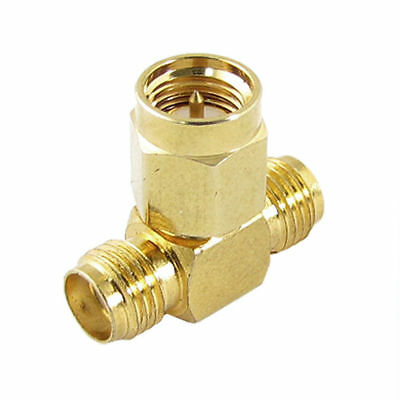 SMA Male to Twin SMA Female T Connector Adapter Splitter Connector - UK Seller