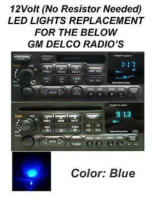 12V Blue Delco Gm Gmc Chevy Display Light Led Bulbs For Cd, Cass Radio's