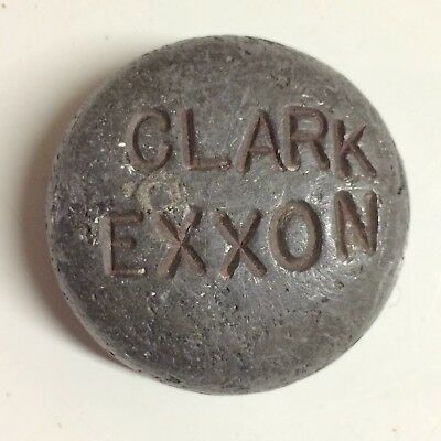 Clark Exxon Lead Paperweight - Rare Gas Station Advertising