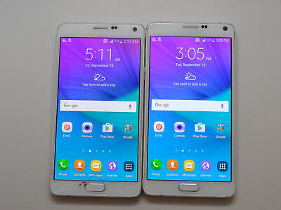 Lot of 2 Samsung Galaxy Note 4 SM-N910T 32GB T-Mobile Smartphones AS-IS GSM #