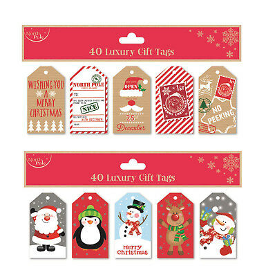 40 x Christmas Gift Tags Xmas Present Assorted Designs BUY 1 GET 1 20% OFF