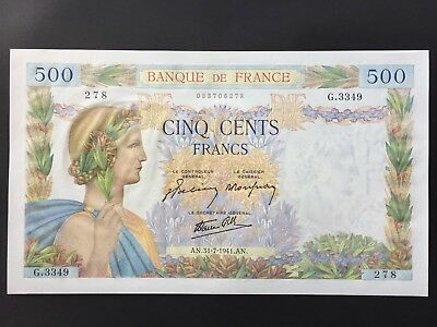 France 500 Francs P95b dated 31st July 1941 Uncirculated UNC