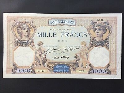 France 1000 Francs P79a dated 1st April 1927 aVF/VF