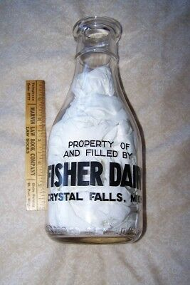 Vintage Milk Bottle. Fisher's Dairy, Crystal Falls, Michigan. Excellent!