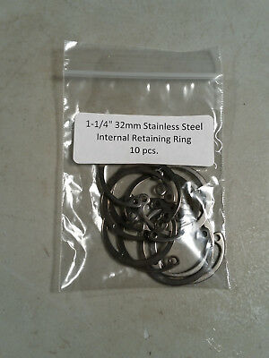 "32mm 1-1/4"" Internal Stainless Retaining Snap Ring MMCC 472 A4 32 10 pc."