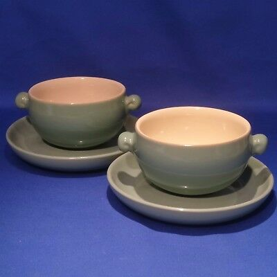 Vintage 1950s BOURNE DENBY MANOR GREEN - 2 x SOUP COUPE CUPS BOWLS & SAUCERS