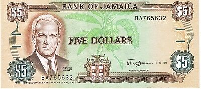1985-1992 Jamaica (1989) Reduced Size $5 Dollar Circulated Bank Note Pick-70c!!