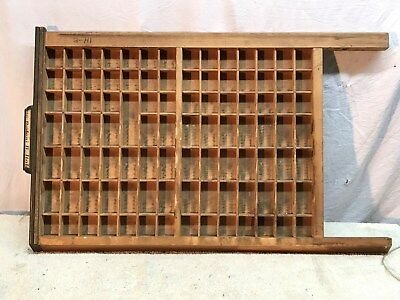 "Vintage Large Wood Printers Tray Type Case! 22"" x 17"" With 98 box"