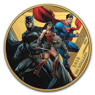 2018 Canada 1/4 oz Pf Gold The Justice League™: United We Stand - SKU #156761