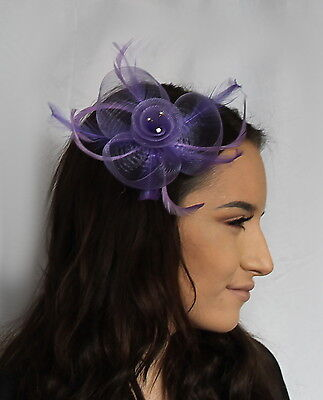Light Purple Net Flower Feather Fascinator on a clip diamante crystal Weddings