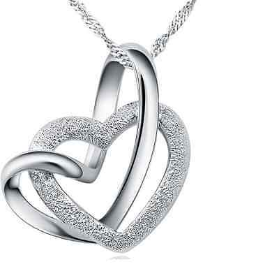 """Women Sterling Silver Love Double Heart Pendant Necklace 18"""" Chain Gift Box B18"""