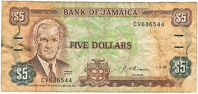 1985-1992 Jamaica (1991) Reduced Size $5 Dollar Circulated Bank Note Pick-70d!!