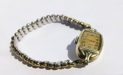 Lovely Vintage Elgin 17 Jewels 10K Yellow Gold Filled Gf Ladies Watch - Runs!