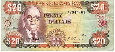1985 Jamaica (1991) Reduced Size $20 Dollar Circulated Bank Note Pick-72d!!