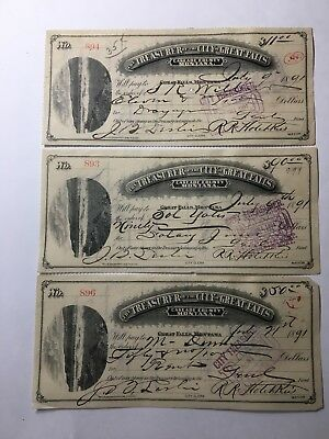 Montana Bank Checks Great Falls Cascade County 1800's
