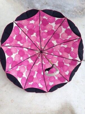 Vintage PK Polan Katz Double Layer Ruffled Floral Umbrella Parasol Made in Italy