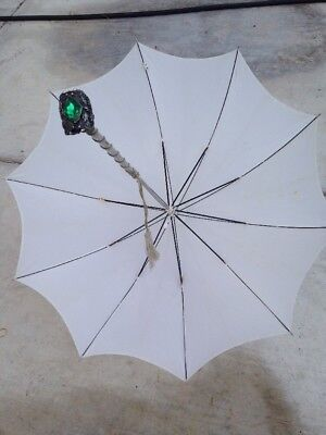 VINTAGE PARASOL / UMBRELLA White with Ornate SILVER HANDLE with Green GEM STONE