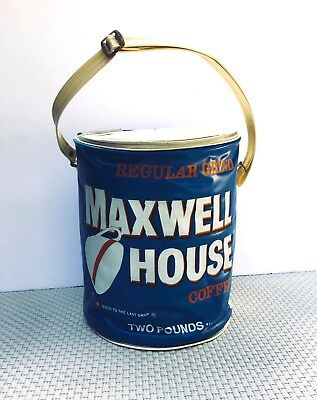 Vintage MAXWELL HOUSE COFFEE Insulated Vinyl Cooler Carrier Advertising 1970s